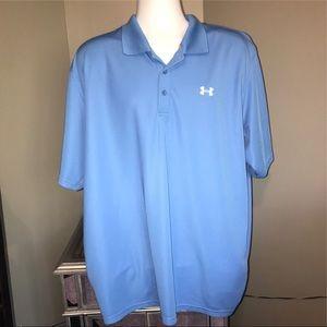 Mens Under Armour Athletic Polo Shirt Blue XXL